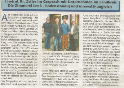 Landrat Dr. Zeller zu Besuch in der Zimmerei Lenk