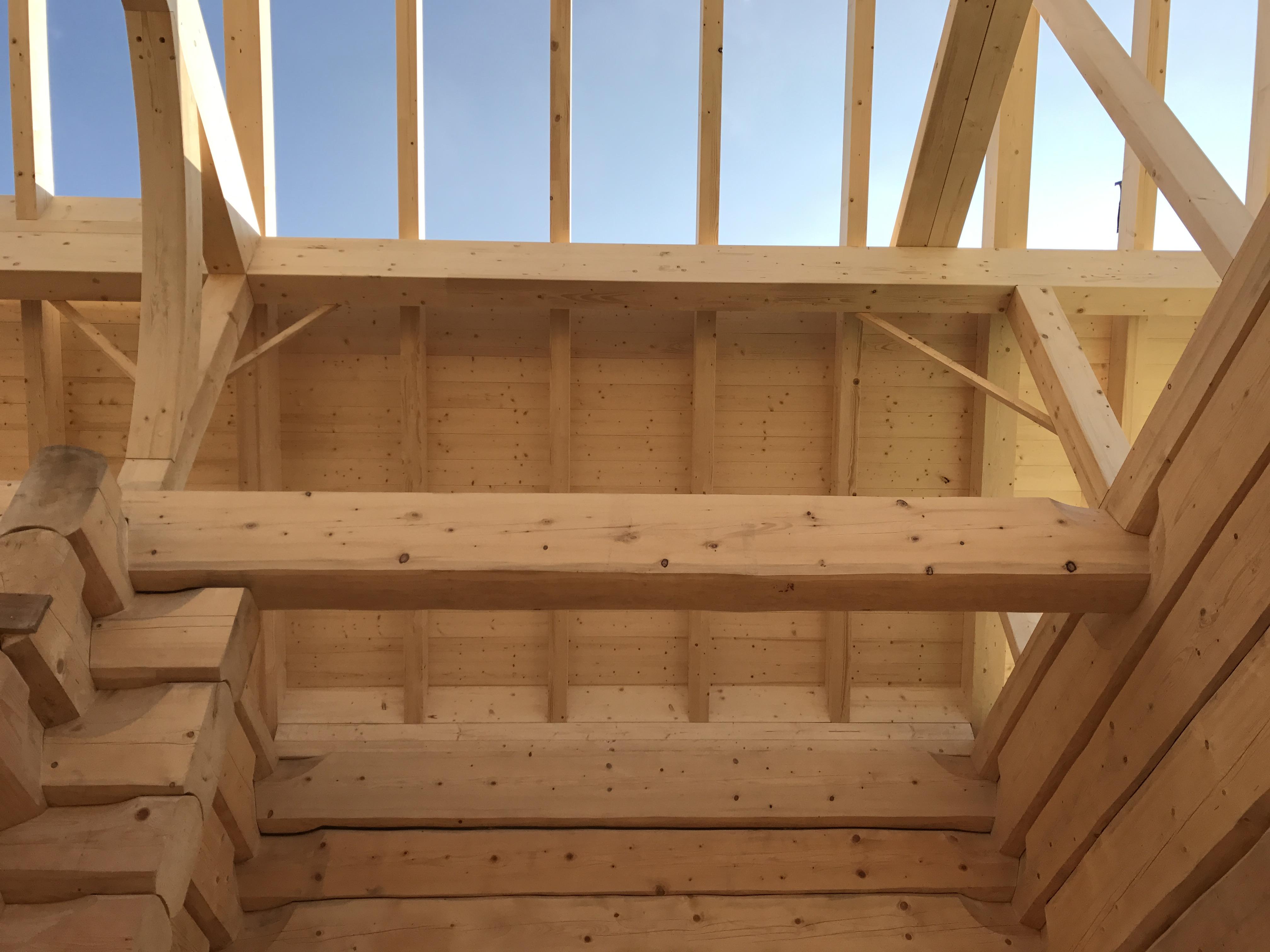 Dachstuhl auf Blockhaus